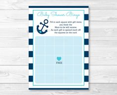 Nautical Anchor Baby Shower Bingo Cards by LittlePrintsParties