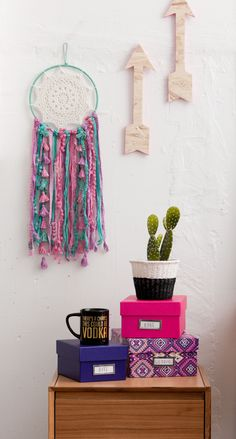 The only way is up! #typoshop #style #decor #apartment #home #arrow #dreamcatcher #storage #cactus