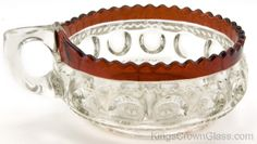 Kings Crown Glass - U.S. Glass Co. - Handled Olive in Ruby Stain