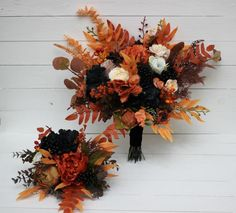Black Bouquet, Yellow Bouquets, Fall Bouquets, Fall Wedding Bouquets, Wedding Gowns, Orange Wedding Flowers, Black Flowers, Orange Flowers, Black Wedding Themes