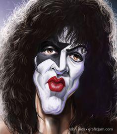 Kiss Cartoon Faces, Funny Faces, Cartoon Art, Caricature Artist, Caricature Drawing, Funny Caricatures, Celebrity Caricatures, Paul Stanley, Funny Facebook Posts