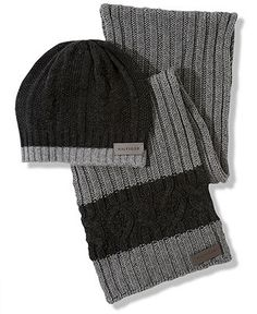 Tommy Hilfiger Scarf and Hat, Cable Scarf and Cable Tipped Beanie - Mens Hats, Gloves & Scarves - Macy's