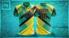 Photoshop Mockup Tutorial_New Cricket Shirt Design in Photoshop by M Qasim Ali Cricket T Shirt Design, Sport Shirt Design, Sports Jersey Design, Sport T Shirt, Football Shirt Designs, Football Shirts, Sports Jerseys, Sports Templates, Shirt Mockup