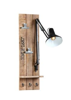 Aplique de pared de hierro niquelado y madera Boston   Westwing Home & Living