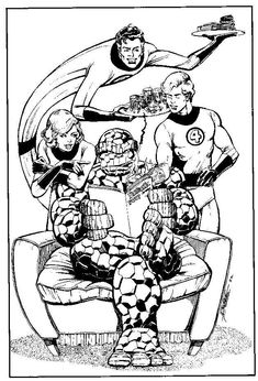 The first family of Marvel, The Fantastic Four, by George Perez Comic Book Artists, Comic Artist, Comic Books Art, Fantastic Four Marvel, Mister Fantastic, Marvel Comics Superheroes, Marvel Heroes, Ms Marvel, Marvel Art