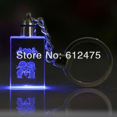 3D laser crystal holiday event & party supplies keychain,foto frame easter fan wedding decoration valentine's day gift 5pair/lot
