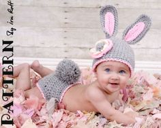 Easter Bunny Rabbit Hat & Diaper Cover