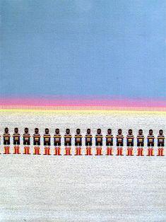 Mauvartoq från Grönland, väv i bunden rosengång av textilkonstnär katrin bawah