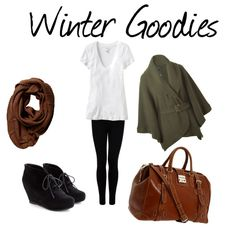 Gosh, I love using Polyvore! An outfit I created ---- love the yummy olive green wrap cardigan sweater, the weekend bag, the black wedge booties, the scarf, the leggings and the boyfriend tee. The perfect winter outfit!