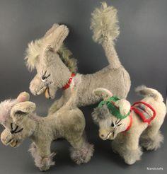 #Anker Mufti Laughing #Donkey x 3 White Grey Mohair Plush 12 & 18 cm c1960s Teeth