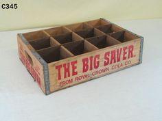 VINTAGE ROYAL CROWN COLA COMPANY THE BIG SAVER WOODEN WOOD SODA POP BOTTLE CRATE #RoyalCrownCola