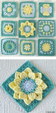 Free Crochet Pattern of Floral Crochet Blocks Squares. Just look at these beauti. Free Crochet Pattern of Floral Crochet Blocks Squares. Just look at these beautiful flower blocks! You absolutely must m. Bag Crochet, Crochet Daisy, Crochet Crafts, Crochet Projects, Filet Crochet, Crochet Flowers, Crochet Motif Patterns, Crochet Blocks, Crochet Designs