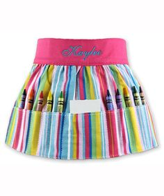 Look at this #zulilyfind! Pink Stripe Personalized Crayon Apron #zulilyfinds