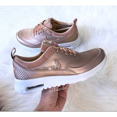 Limited Nike Air Max Thea Se With Swarovski Crystals Metallic Rose... ($195) ❤ liked on Polyvore featuring shoes, grey, sneakers & athletic shoes, women's shoes, rose gold shoes, logo shoes, swarovski crystal shoes, metallic shoes and grey shoes