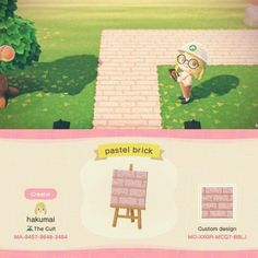 pastel brick path 🌸 : ACQR - pastel brick path 🌸 : ACQR Source by - Animal Crossing 3ds, Animal Crossing Wild World, Animal Crossing Qr Codes Clothes, Tumblr Girly, Screensaver Iphone, Ac New Leaf, Motifs Animal, Path Design, Animal Games