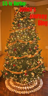 DIY Tree Skirt Tutorial. What $5 in burlap can do for you.