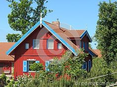 Red Home With Blue Trim House Royalty Free Stock Photo For Or As