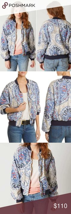 NWT Free People Navy Paisley Bomber Jacket Brand new with tags. Fits larger so a small will fit a medium. Floral paisley zippered bomber jacket with quilted interior lining. Blue, tan,  and red floral paisley on a white background with navy trim. Two pockets on sides with snap closure. Free People Jackets & Coats