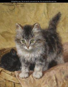 Two Kittens In A Basket - Henriette Ronner-Knip