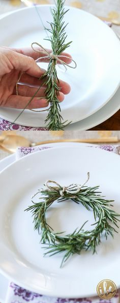 Style your Holiday table with new festive dinnerware from HomeGoods and this mini wreath made from rosemary! *Sponsored Pin*