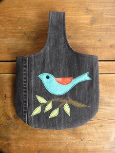 Recycled Denim and Bluebird Applique Tote by TwilightRavenDesigns