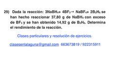 Ejercicio 29. Tema: Rendimiento (reacciones químicas)