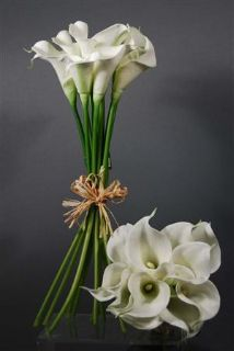 Real touch hand-tied calla lily bud bouquet in white. Bouquet has 12 calla lilies and is tied with a raffia bow. Perfect bouquet or to cut open to use for boutonnieres. Each calla lily flowers measures tall and in diameter with a opening Wedding Bouquets Online, Lily Bouquet Wedding, Silk Bridal Bouquet, Bridesmaid Bouquet, Bridal Bouquets, Bridesmaids, Fake Wedding Flowers, Artificial Wedding Bouquets, Fake Flowers