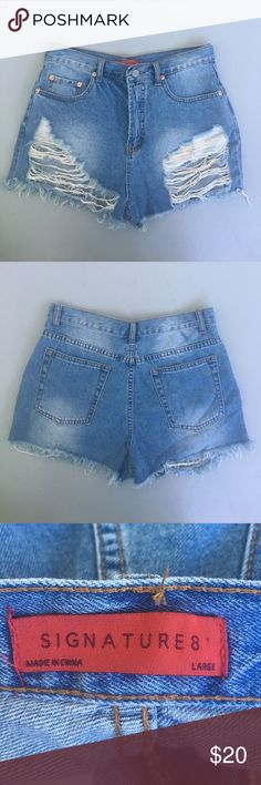 NWOT Fashion Nova Max Boyfriend Distressed Shorts Brand is Signature 8 which is sold at / the same as fashion nova. These are NWOT Fashion Nova Shorts Jean Shorts
