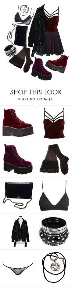 """""""velvet dreams // grunge"""" by xkitten-pokerx ❤ liked on Polyvore featuring Jeffrey Campbell, CERVIN, Chanel, H&M, Jane Norman, Love Haus, women's clothing, women, female and woman"""