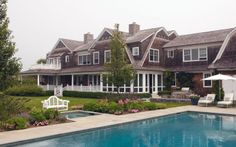 amazing shingle style home - pool - backyard - classic - porches