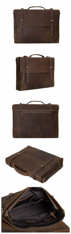 Vintage Crazy Horse Leather Briefcase, Messenger Bag, Laptop Bag, Business Men's Bag 0342