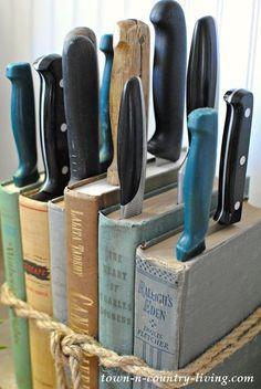 DIY Knife Holder made from vintage books