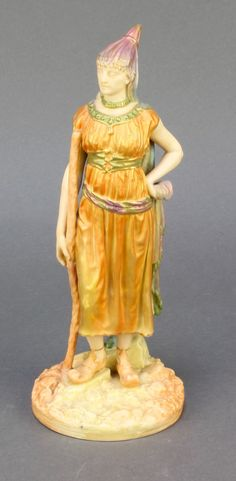 "Lot 68,  A Royal Worcester blush porcelain figure of a Romanian lady no.1243 modelled by Hadley 8 1/2"" est £60-90"
