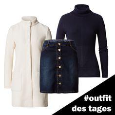 Denim-Rock mit Knopfleiste, Rollkragenpullover und Mantel von zero #zerofashion #outfit #ootd