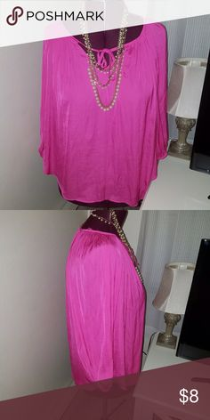Pink long sleeve peasant style blouse Tie detail on front long sleeve boho peasant lightweight flowy top Jennifer Lopez Tops Blouses