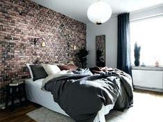 Brick wall bedroom best 9 brick wallpaper bedroom ideas on black exposed brick wallpaper bedroom brick . Exposed Brick Wallpaper, Brick Wallpaper Living Room, Brick Wall Bedroom, Exposed Brick Walls, Bed Design, Wall Design, House Design, Brick Design, Bedroom Decor