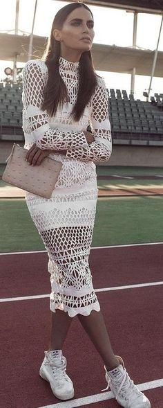 #summer #lovely #fashion |  White Crochet Midi Dress