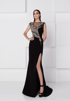 a3829b7ce163 Lovely and chic, this refined evening dress from SK by Saiid Kobeisy is a  beautiful choice for any woman. The illusion bateau neckline bodice has cap  ...