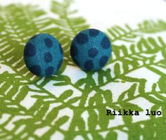 Scandinavian design fabric covered button by RiikkaLuoDesigns Surgical Steel Stud Earrings, Fabric Covered Button, Button Earrings, Scandinavian Design, Fabric Design, Handmade, Etsy, Hand Made, Craft