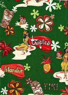 70akua green, tiki, hula girls, retro fabric, cotton apparel fabric.  Add Discount code: (Pin10) in comment box at check out for 10% off sub total at BarkclothHawaii.com