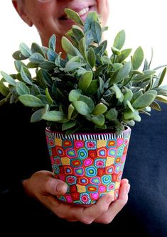 Your place to buy and sell all things handmade Flower Pot Art, Flower Pot Design, Flower Pot Crafts, Clay Pot Crafts, Painted Plant Pots, Painted Flower Pots, Pottery Painting Designs, Pottery Designs, Diy Crafts Hacks