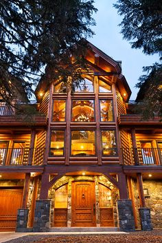 Most Beautiful Log Homes in America | This log cabin has a custom floor plan. The log home design was ...