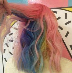 how mermaid hair color became a hit Hidden Rainbow Hair, Pelo Multicolor, Coloured Hair, Dye My Hair, Mermaid Hair, Crazy Hair, Grunge Hair, Gorgeous Hair, Pretty Hairstyles