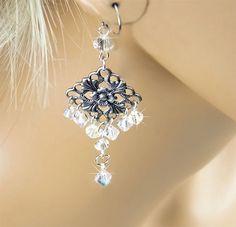 Crystal Bridal Earrings Swarovski Crystal AB by PixieDustFineries