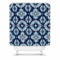 Butterfly Ornamental Blue Shower Curtain #district17