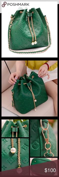 COMING Green Purse Condition: Brand New Size: Brand: Unknown Colors: Green & Gold Details: Bags Hobos