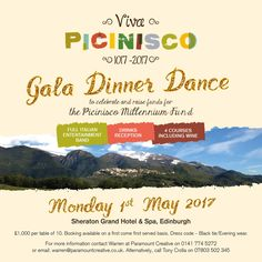 We are delighted to promote this wonderful event, coming up on May 1st in Edinburgh, which will not only celebrate Picinisco1000 but also help raise funds for the Picinisco Millenium Fund! We know a lot of our Scottish Italian friends have close ties to this wonderful town in the Val di Comino so please share this far and wide! More information on the work of the charity and Picinisco itself can be found here http://www.picinisco1000.org/index.php/charity.