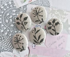 Fabric Covered Buttons Beige Cream Gray Buttons Leaf by RetroNaNa, $4.20