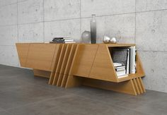 Modern architecture is represented by big variety of forms and shapes, that might inspire creating of interior objects, as well as furniture or decor elements.This sideboard - it is transformation of modern architecture forms into furniture design. Office Furniture Design, Woodworking Furniture, Unique Furniture, Home Decor Furniture, Custom Furniture, Luxury Furniture, Tv Wall Decor, Tv Wall Design, Cabinet Design