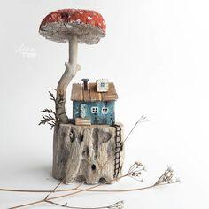 Glitter Iphone 7 Plus Case Driftwood Crafts, Wooden Crafts, Miniature Crafts, Miniature Houses, Sea Crafts, Diy And Crafts, Fairy Crafts, Small Wooden House, Ceramic Houses